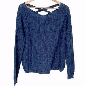 3/$30 Garage Blue Cross X-Back Scoop Neck Sweater